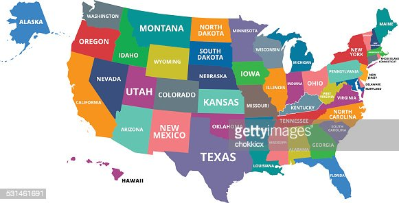 Usa Map With All States Vector Art Getty Images - Map of nevada and arizona usa
