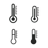 Thermometer vector icons set. Black illustration isolated on white background for graphic and web design.