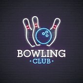 Bowling neon sign. bright signboard, light banner. Bowling club, emblem.