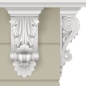 Architectural facade classic baroque bracket for the facade of the building. Vector graphics.