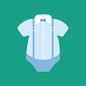 Baby boy bodysuit with collar and the bow tie. Vector illustration
