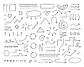 Hand drawn vector arrows set on  white background