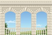 Balcony of a fabulous palace in classical style with a view of the green landscape. Vector graphics