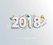 Modern creative new 2018 year design card. Vector illustration.