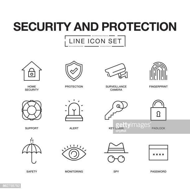 SECURITY AND PROTECTION LINE ICONS SET