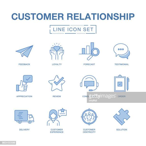 CUSTOMER RELATIONSHIP LINE ICONS SET