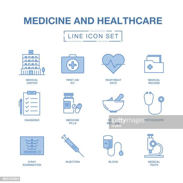 MEDICINE AND HEALTHCARE LINE ICONS SET