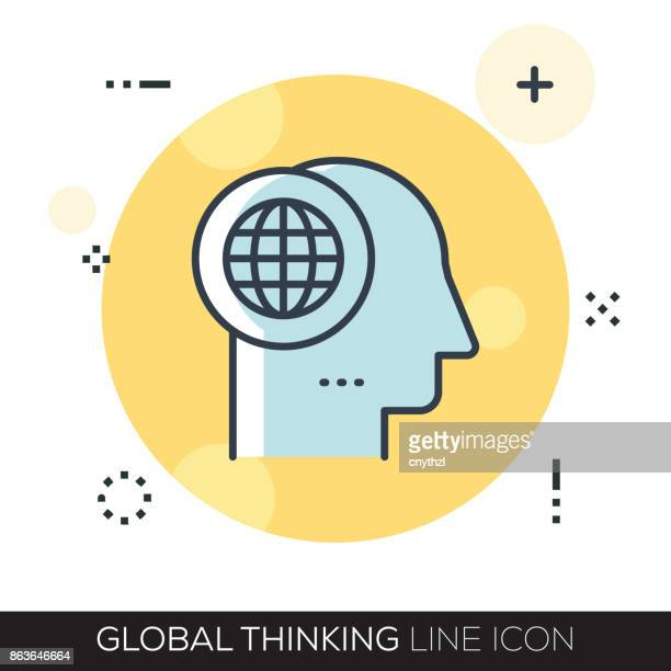 GLOBAL THINKING LINE ICON
