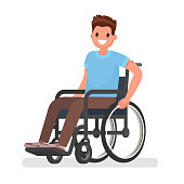 Man is sitting in a wheelchair on a white background. Vector illustration in a flat style