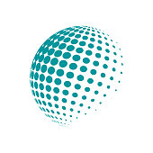 Halftone abstract globe logo blue color. Vector