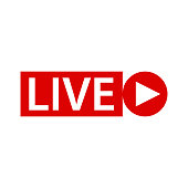 Live streaming sing icon on white back