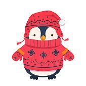 Penguin cartoon illustration. Winter clothes for children.