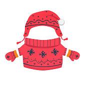 Winter clothes for children. Winter accessories illustration