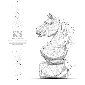 Abstract mash line and point CHESS HORSE origami on white background with an inscription. Starry sky or space, consisting of stars and the universe. Vector strategy illustration