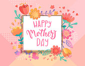 Card for happy mother's day in square frame on geometric background pastel colors with beautiful flowers. Vector illustration template, banner, flyer, invitation, poster.