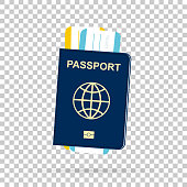 Passport with tickets on chess back. Vector
