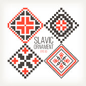 Slavic ornaments four different variations red black