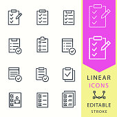 Checklist vector icons set. Black illustration isolated for graphic and web design. Editable stroke.