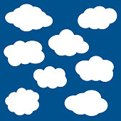 Clouds icons set isolated on blue back
