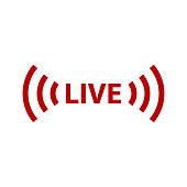 Live streaming sign icon. Vector icon illustration
