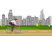 business man on bike go to work in city.energy saving for world.people business concept