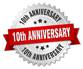 10th anniversary round isolated silver badge