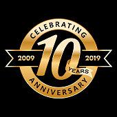 10th Anniversary Symbol with gold ribbon
