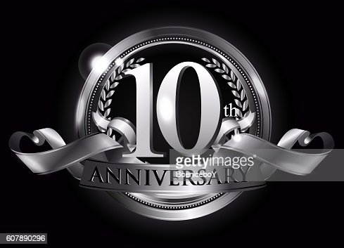 10th silver anniversary logo : stock vector