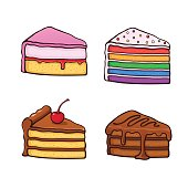 Vector illustration set. A piece of cakes in cartoon style with contour. Cakes with chocolate cream and cherry, pink glaze cream fondant and colored sugar dragees. Isolated on white background