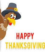 Look out of corner thanksgiving turkey pilgrim hat flat design vector illustration