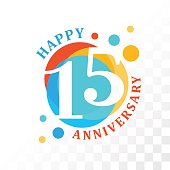 15th Anniversary emblem. Vector  template for anniversary, birthday and jubilee