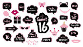 Photobooth props set for sweet sixteen 16  birthday. Happy birthday party. Funny phrases, glasses, lips, crown, cake for 16th anniversary. Bubble speech. Photo booth elements.