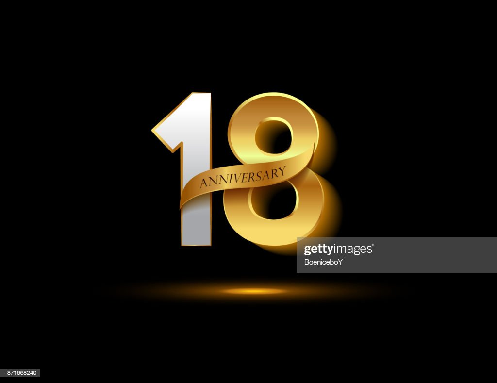 Th anniversary glowing logotype with ribbon golden colored