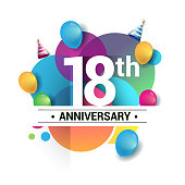 18th years anniversary logo, vector design birthday celebration with colorful geometric, Circles and balloons.