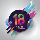 18th years Anniversary symbol with colorful abstract background, vector design template elements for invitation card and poster your birthday celebration.