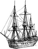 Vector black and white hand drawn illustration of East Indiaman. 18th-century cargo ship Amsterdam, sailboat.