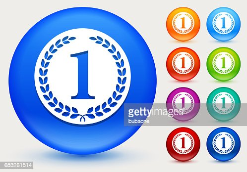 1st Place Medal Icon on Shiny Color Circle Buttons : Vektorgrafik