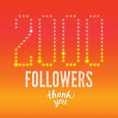 Vector Thank you 2000 followers card. Thanks design template for network friends. Image for Social Networks. Web user celebrates subscribers. Two thousand followers.