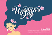 8 march - International Women's Day template design or copy space. Hand drawn woman with long hair in flat vector illustration.