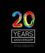 20th Anniversary, congratulation for company or person on black background. Vector illustration