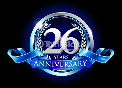 26th anniversary logo with blue ribbon vector art thinkstock 26th anniversary logo with blue ribbon vector art altavistaventures Image collections
