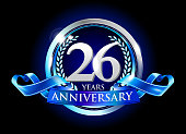 26th anniversary logo with blue ribbon. signs illustration. Silver anniversary logo with blue ribbon and silver ring