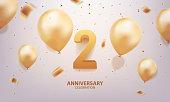 2nd Year anniversary celebration background. 3D Golden number with confetti and balloons.