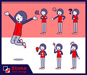2tone type Store staff red uniform women_set 01