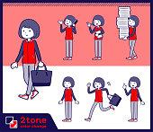 2tone type Store staff red uniform women_set 02