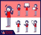 2tone type Store staff red uniform women_set 06