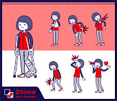 2tone type Store staff red uniform women_set 08