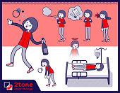 2tone type Store staff red uniform women_set 10