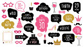 Photo booth props set for 30th birthday party. Happy dirty thirty 30. Mustache, funny phrases, glasses, lips, crown, cake for anniversary. Bubble speech. Photobooth elements.