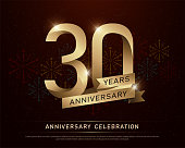 30th years anniversary celebration gold number and golden ribbons with fireworks on dark background. vector illustration